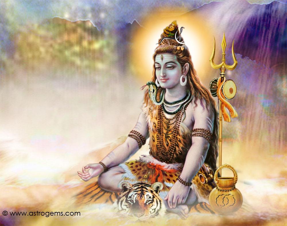 Sri Shiva sentado meditando todo iluminado