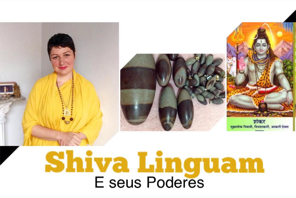 Monja Bianca Toffani com fotos do Cristal de Shiva Linguam e uma linda imagem e Sri Shiva