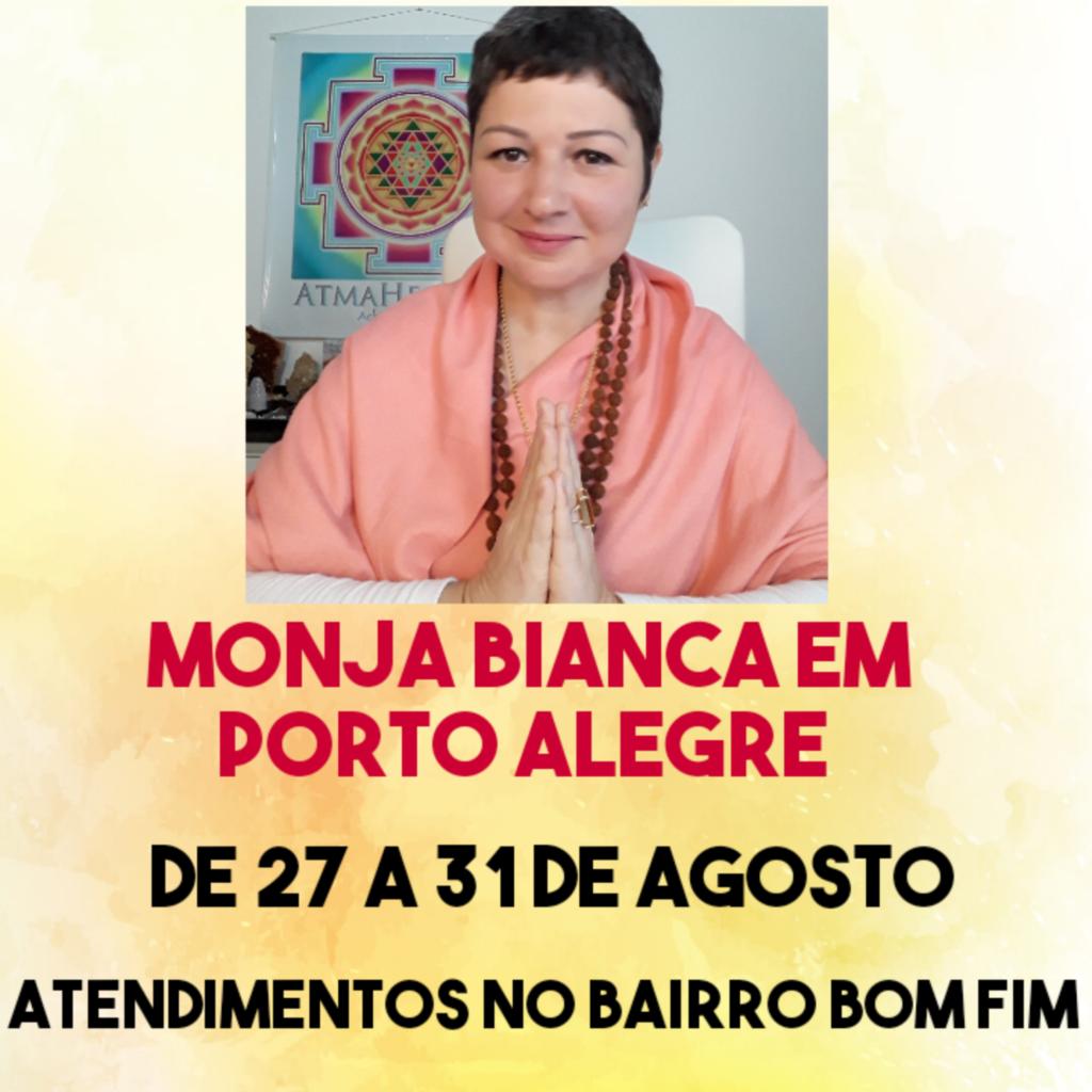 Monja Bianca dando namastê com a informação de sua ida à Porto Alegre RS para atendimentos.
